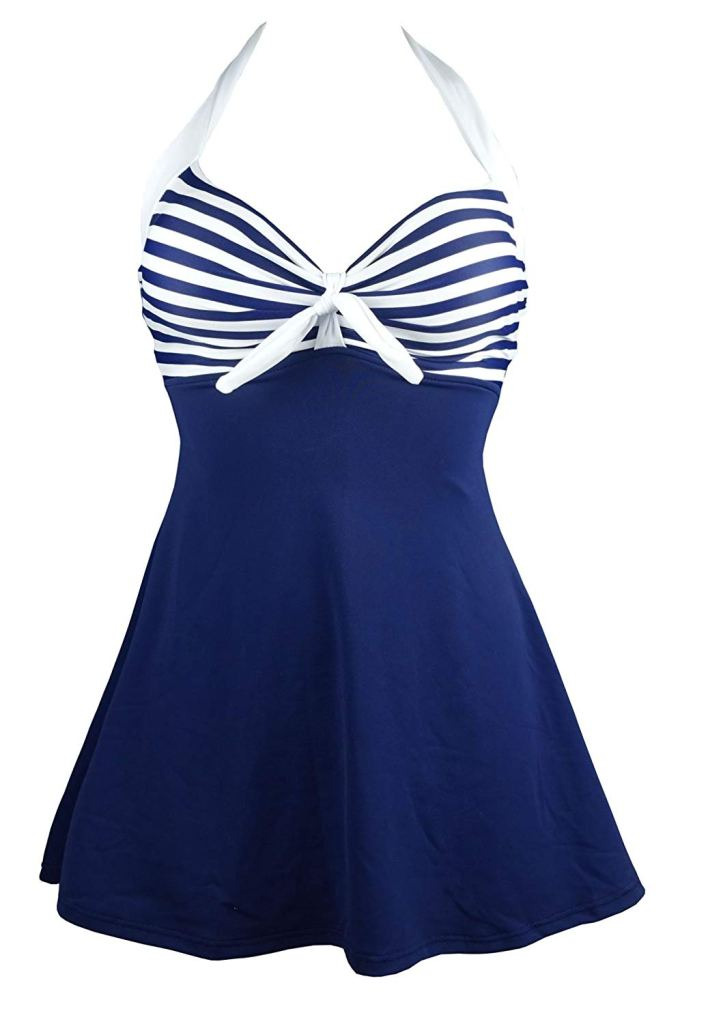 27 Graceful Plus Size Women Outfit and Dress For Everyday - A blue and white dress - One-piece swimsuit